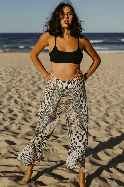 White Leopard Gem Pants