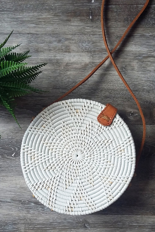 White medium round cane bag