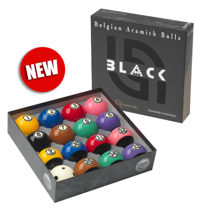 ARAMITH Tournament BLACK pool ball set with Duramith™ Technology