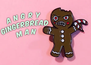 Angry Gingerbread Man (lapel pin)