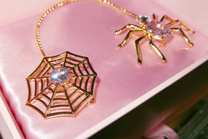 Glam Ghoul Spider Brooch (w/ pink on pink jewelry box)