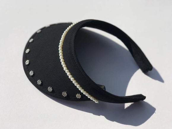 Ladies' Golf Visor with flowers and pearl beads, clip-on