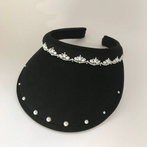 Ladies' golf visor with pearl beads, clip-on - Golfglam