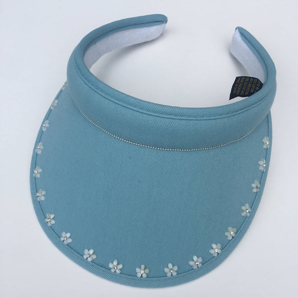 Ladies' Golf Visor, handmade with flowers and gems, Clip-on