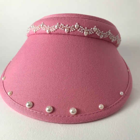 Ladies' golf sun visor with pearl beads,  clip-on