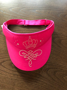 Women's golf sun visor with bling and rhinestones - sun hat/ cap - pink