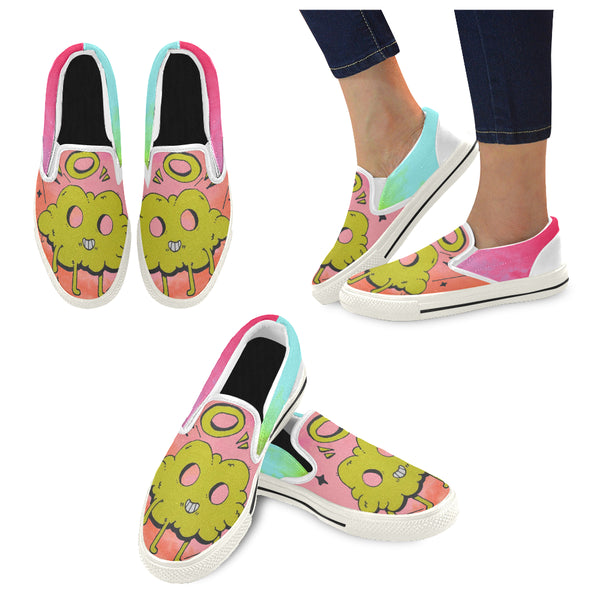 Colorful clouds yellow Slip-on Canvas Shoes for Kid