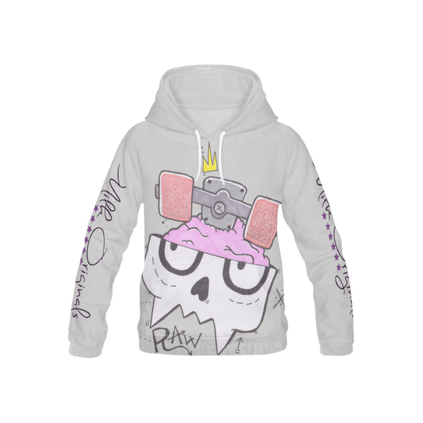 Raw soft grey All Over Print Hoodie for Kid (USA Size) (Model H13)