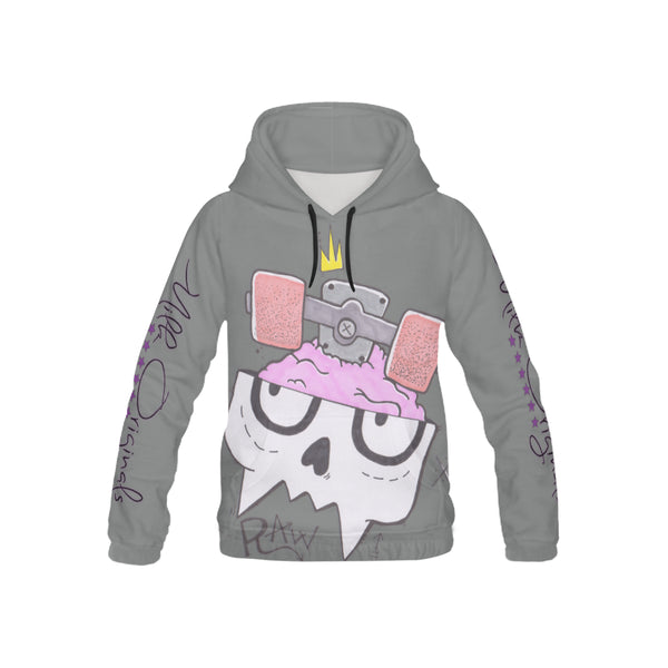 Raw dark grey All Over Print Hoodie for Kid (USA Size) (Model H13)