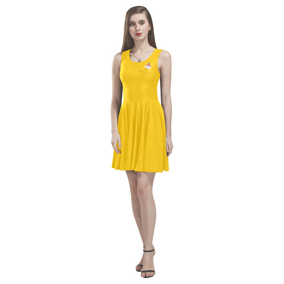 Raw Sleeveless Yellow Skater Dress