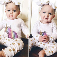 3pcs/set Baby Clothing Unicorn Pattern Long Sleeve Top+Pants+Headband Outfits Kids Leisure Clothes