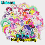 30 Pcs Mixed Cartoon Unicorn Stickers