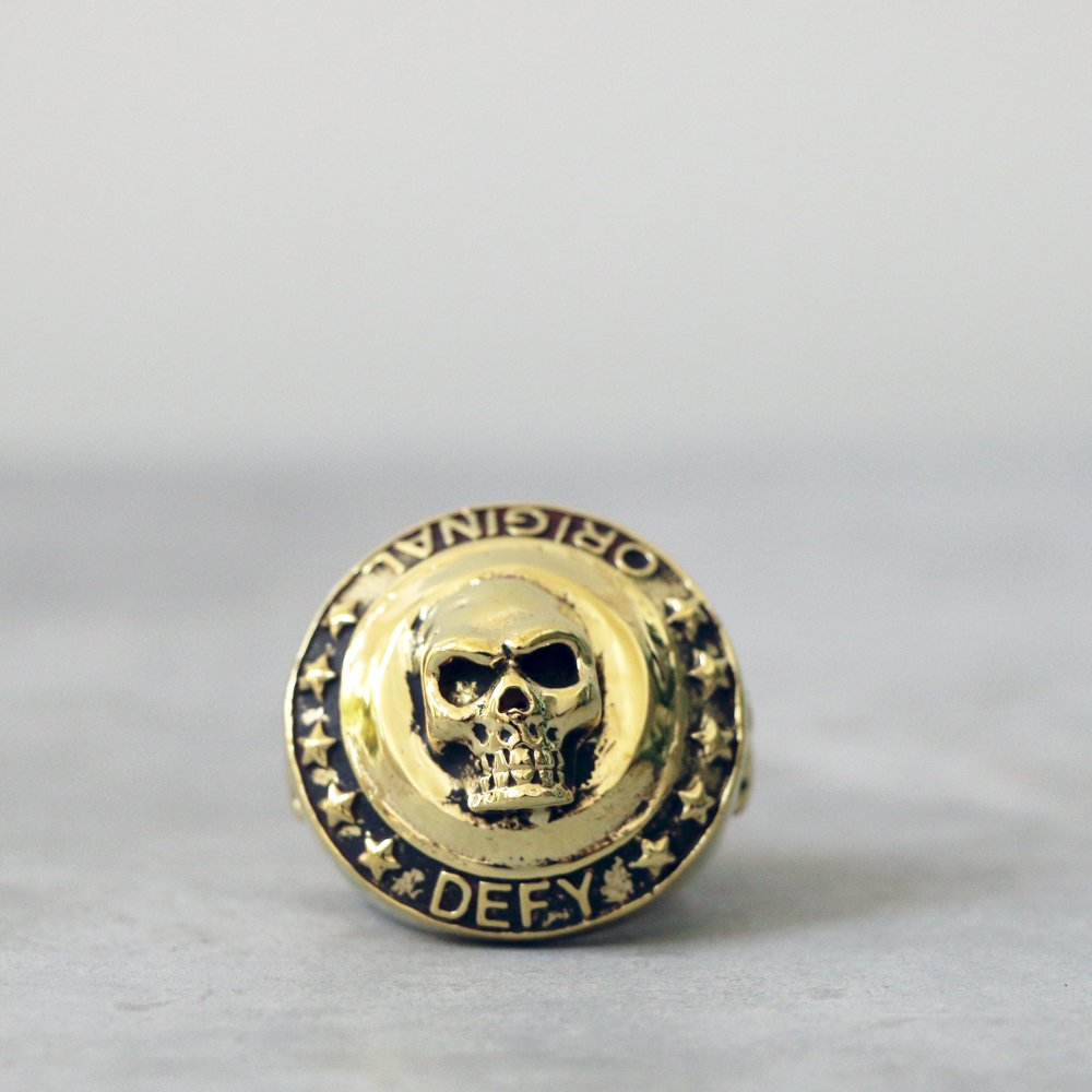 Skull Coin Brass Ring