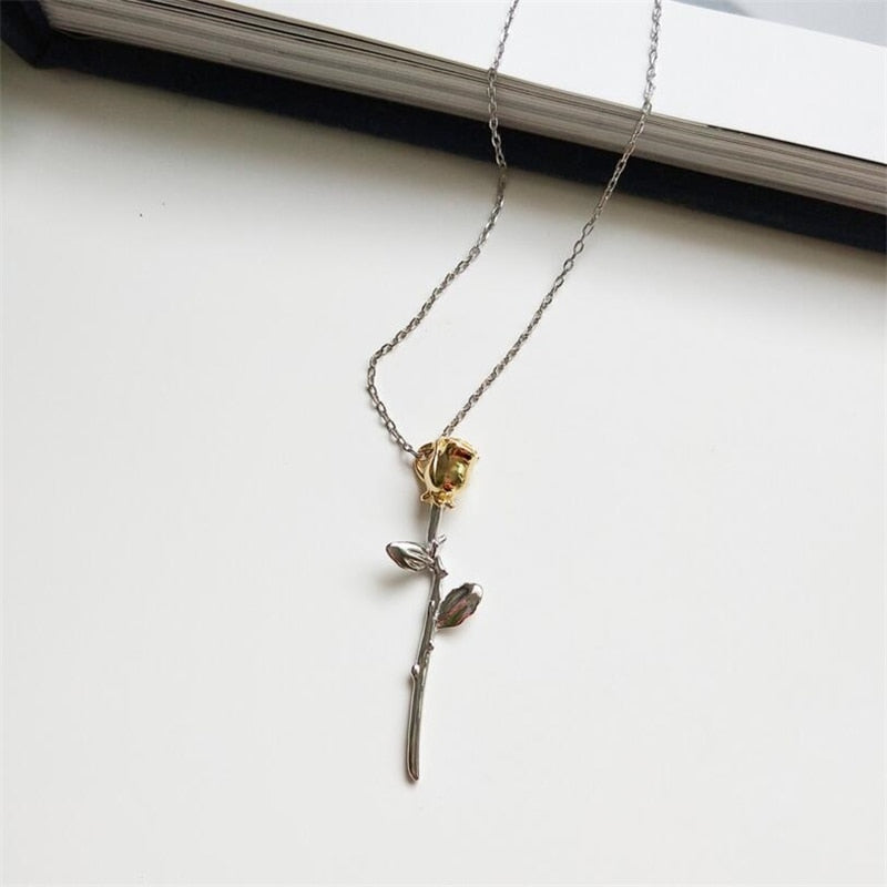 Single Rose 925-SS Necklace