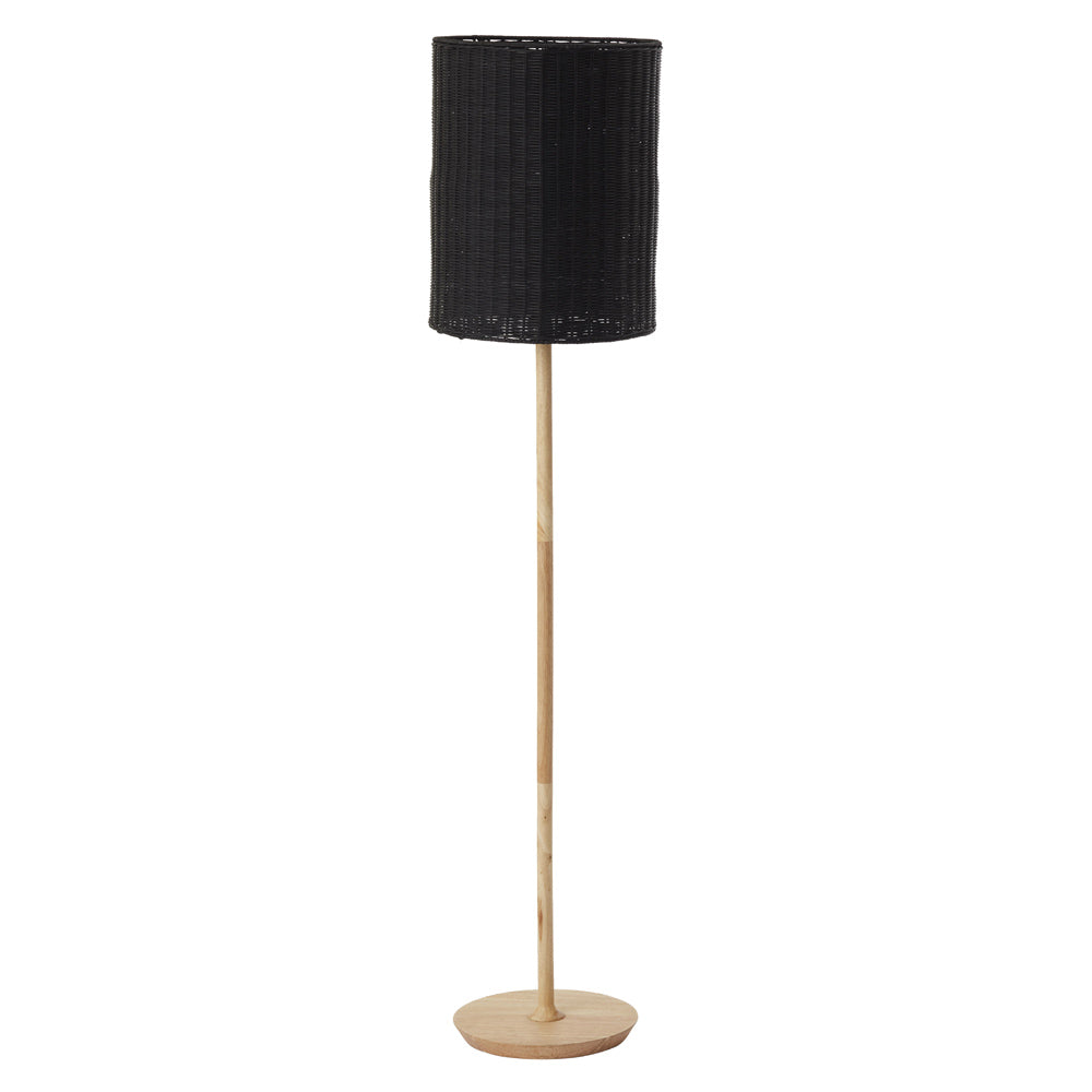 Albany rattan floor lamp black