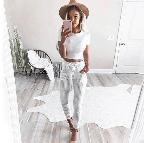 Striped High Waist Pants With Pockets