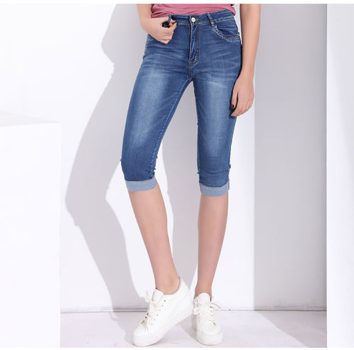 Knee Length High Waist Jeans