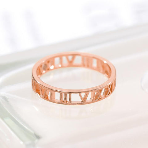 Roman Numerals Ring jewelry for women in gold rose gold and silver with Free shipping - Simply Bo