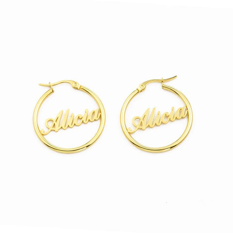 Name Hoop Earrings jewelry for women in gold rose gold and silver with Free shipping - Simply Bo