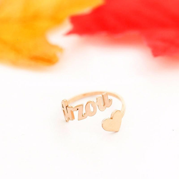 stylish Heart Name Ring for women in gold rose gold and silver color (Free shipping) | Simply Bo