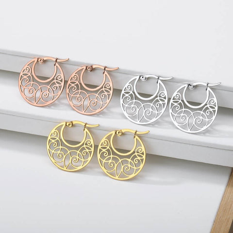 Boho Round Hollow Earrings for girls in gold rose gold and silver - Free shipping Simply Bo