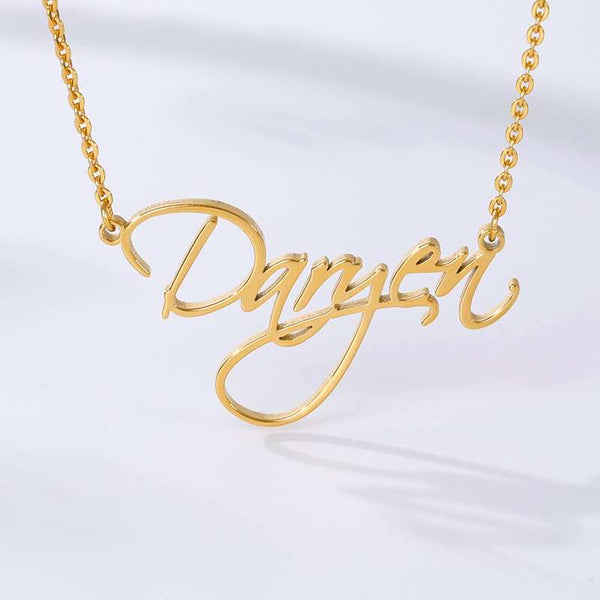 stylish personalized Script Nameplate Necklace for women in gold color (Free shipping) | Simply Bo