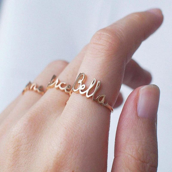 Adjustable Name Ring jewelry for women in gold rose gold and silver with Free shipping - Simply Bo