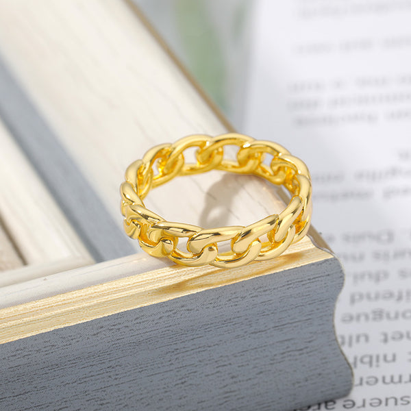 Everyday thin Chain Band Ring for women in gold color (Free shipping) | Simply Bo