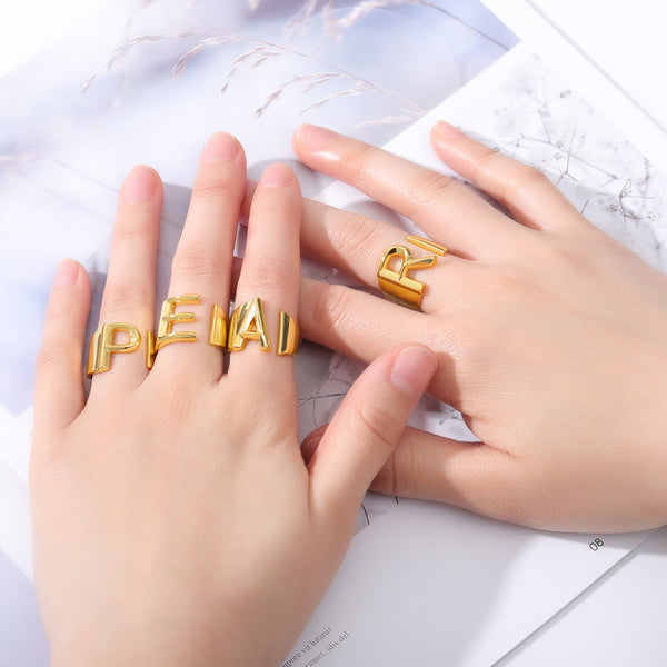 Personalized Initial Band Ring Custom Initial Ring Letter Ring in Gold For WOmen Free Shipping - Simply Bo