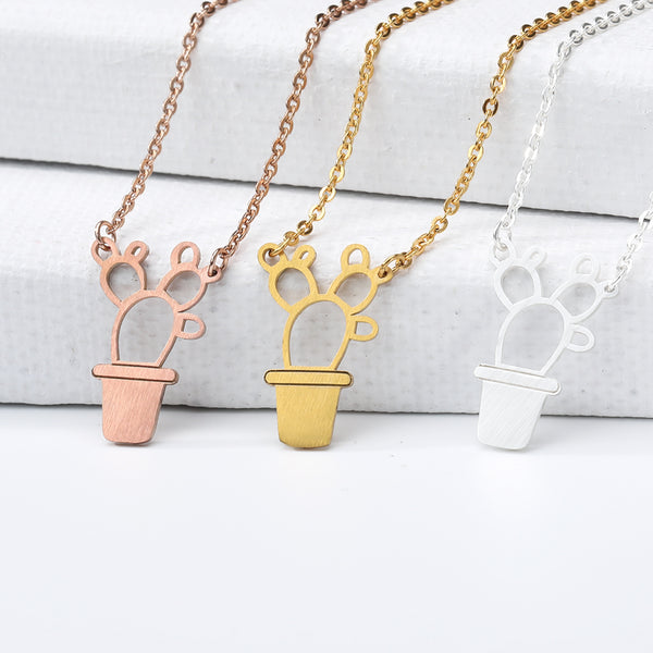 Silver Rose Gold Pot Geometric Cactus Bonsai Pendant Necklace Girls Choker Jewel Free shipping - Simply Bo
