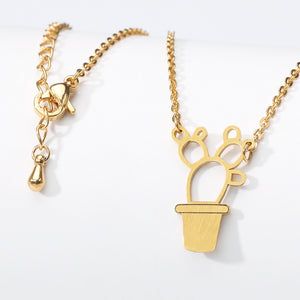 Gold Pot Geometric Cactus Bonsai Pendant Necklace Girls Choker Jewel Free shipping - Simply Bo
