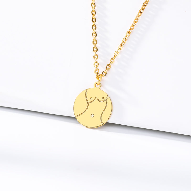Women's Bold Sexy Breast Body Coin Pendant Necklace jewelry for women in gold with Free shipping - Simply Bo