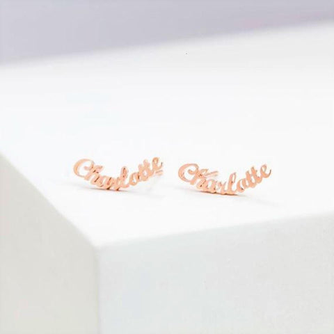 stylish Name Stud Earrings for women in gold rose gold and silver color (Free shipping) | Simply Bo