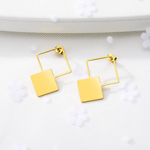 stylish Double Square Earrings Jewelry for women in gold color (Free shipping) | Simply Bo