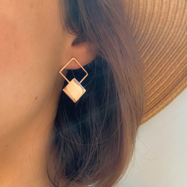 Trendy simple square drop Earrings Jewelry for women in rose gold color (Free shipping) | Simply Bo