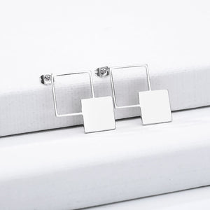 Trendy minimalist square drop Earrings Jewelry for women in silver color (Free shipping) | Simply Bo