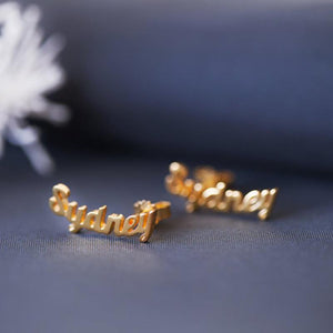 Name Stud Earrings jewelry for women in gold rose gold and silver with Free shipping - Simply Bo