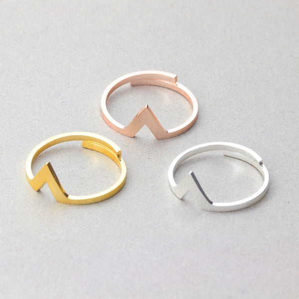 Stacking Thin Triangle Ring Set for women in gold rose gold silver (Free shipping) | Simply Bo