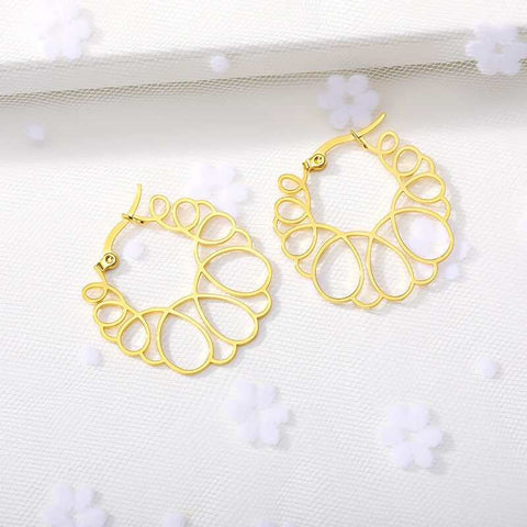 Circle Wave Earrings jewelry for women in gold rose gold and silver with Free shipping - Simply Bo