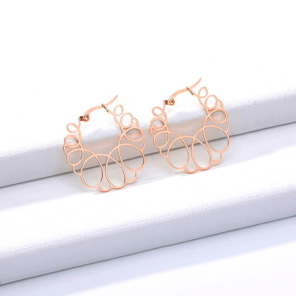 Beautiful Trendy Geometric Everyday Circle Wave Stud Hoop Earrings for Women Girls Rose Gold Simply Bo Jewelry for Everyday | Free Shipping