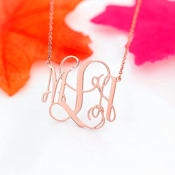 stylish Monogram Necklace for women in gold rose gold and silver color (Free shipping) | Simply Bo