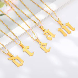 Gold tone Initial English Letter Pendant Necklace jewelry for women and men with Free shipping - Simply Bo