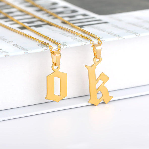 Unique custom gift idea Gold Initial English Letter Pendant Necklace jewelry for women and men with Free shipping - Simply Bo