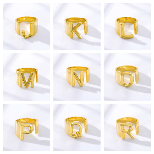 Personalized Custom Initial Letter J to R Jewelry Ring in Gold For Women Free Shipping - Simply Bo