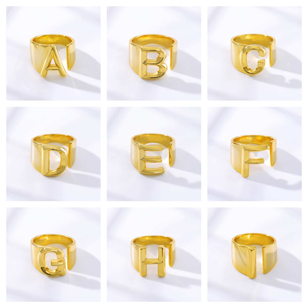 Personalized Custom Initial Letter A to I  Jewelry Ring in Gold For Women Free Shipping - Simply Bo