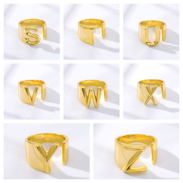 Personalized Custom Initial Letter s to z  Jewelry Ring in Gold For Women Free Shipping - Simply Bo
