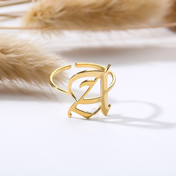 Personalized Custom Old English Font Initial Letter Jewelry Ring in Gold For Girls Free Shipping - Simply Bo