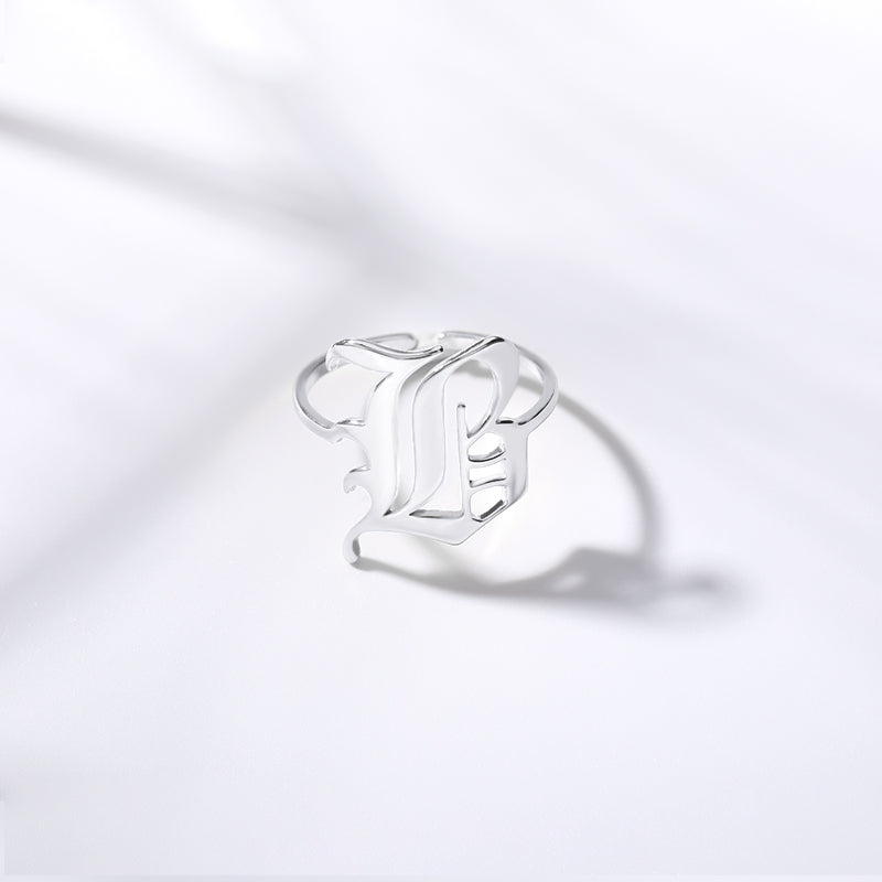 Personalized Custom Old English Font Initial Letter Jewelry Ring in Silver For Girls Free Shipping - Simply Bo
