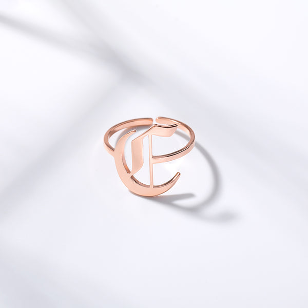 Personalized Custom Old English Font Initial Letter Jewelry Ring in Rose Gold For Girls Free Shipping - Simply Bo