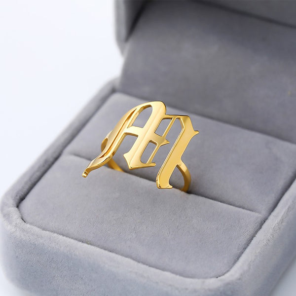 Personalized Custom Old English Name Initial Letter Jewelry Ring in Gold For Girls Free Shipping - Simply Bo